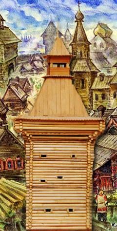 Наугольная башня за арх двором
