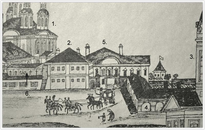 1. Часть рисунка семинариста П.Анисимова Вид зданий с главной торговой площади Вятки, 1802 год (реставрация Л.Безверховой)